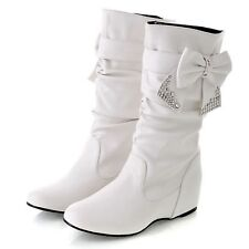 Ladies Boots wedges Chelsea booties Womens Shoes with Bow Rhinestone UK 8 White