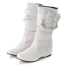 White Ladies Boots Beaded Chelsea booties Winter Shoes with Bow Rhinestone UK 8