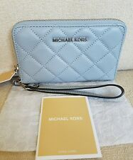 NWT MICHAEL KORS JET SET TRAVEL QUILTED LEATHER PHONE CASE WALLET DUSTY BLUE