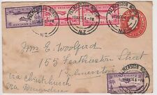 (OW-13) 1936 NZ PSE KGV& 8d extra air mail postage to Palmerton (toning)