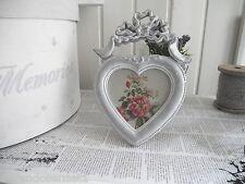 grau weiß Bilderrahmen Schleife Herz antik STIL shabby chic Vintage Ornament 257