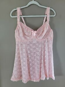 Womens Torrid Babydoll Lingerie Plus Size 1X Lace Underwire Pale Pink Nighty NEW