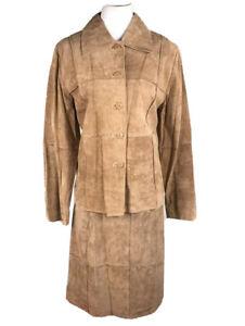 New ORIGINAUX Par PABLO Montreal Tan Leather Fit and Flare Skirt Suit Size 13
