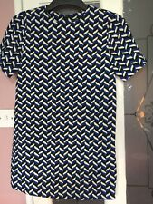ZARA WOMENS DESIGNER BLUE BLACK CREAM ZIG ZAG PATTERN SHIFT STYLE DRESS SZ 8 UK