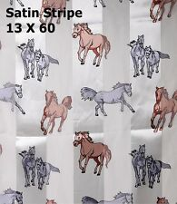 """Silver Brown Horses Ivory Background  Satin Stripe 13"""" x 60 Long Scarf 100% Polo"""