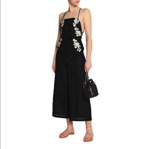 Zimmermann Metalic Embroidered Black Linen Jumpsuit Size 1