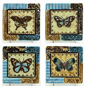 """MWW Market BACK TO THE GARDEN 4.5"""" Square Mini Plate Set 4P Butterfly Blue Brown"""