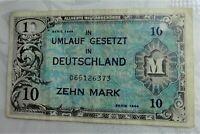Deutschland 10 Mark 1944 Alliierte Militärbehörde, entwertet (gelocht) sonst III
