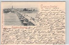 SELTEN Litho AK 1897@Gruss aus Dresden@Neustadt Augustusbrücke Straßenbahn