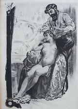 LOBEL RICHE , LE COIFFEUR , EAU FORTE ORIGINALE 1912, TIRÉE  ALBUM POUPÉES PARIS