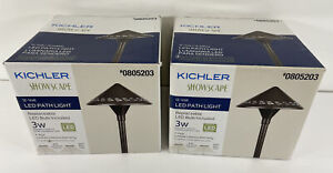 2 X Kichler Showscape 3-Watt Olde Bronze Low Voltage Hardwired LED Path Light