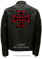 IRON CROSS BIKER PATCH Embroidered Maltese LARGE SIZE iron-on CHOPPER LOGO RED