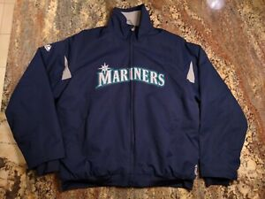 Mens Majestic Seattle Mariners Jacket Therma Base Navy Blue Baseball Size M
