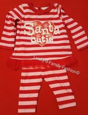 NEW TU baby girl Santa Christmas outfit red pink top trousers Age 3-6 Months