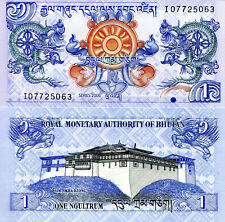 BHUTAN 1 Ngultrum Banknote World Paper Money UNC Currency Pick p27a 2006 Dragons
