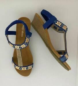Women sandals wedge shoes designer auyi ladie's bridal resort navy