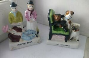 """2 Vintage Porcelain Fairing ornaments """"the orphans"""" & one too many #S5"""