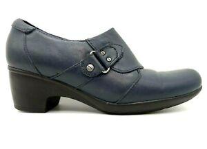 Clarks Navy Blue Slip On Zip Up Block Heel Dress Shoes Women's 7 M