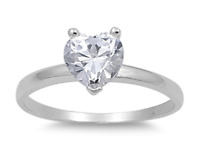 925 Silver Solitaire 2.00ct Simulated Diamond Size 5 Heart Promise Ring S74