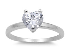 925 Silver Solitaire 2.00ct Simulated Diamond Size 9 Heart Promise Ring S74