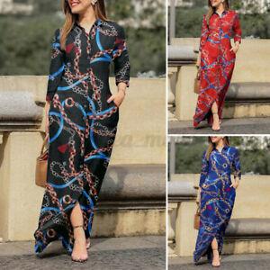 S-5XL Womens Vintage Printed Shirt Dress Button Down Maxi T-Shirt Dress Sundress