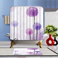 Purple Dandelion Waterproof Fabric Bathroom Mat Bath Shower Curtain Home Decor