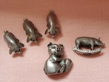Vintage 1980-1983 Miniature Pewter Pig Lot Figure C.A.T. 5 pcs