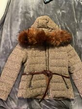 Moncler Chardonneret Giubbotto Brown Woman's Size  3  Real Fur Trim Hood