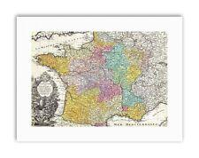 Antico Mappa Homann Heirs FRANCIA POSTER STAMPE SU TELA ART