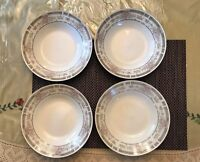 MANCHESTER PORCELAIN 4145  22K GOLD BAND & 1 COUPE SOUP BOWLS SET OF 4