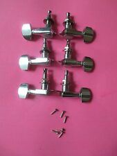 GROVER STYLE CHROME TUNERS COMPLETE SET! NEW! 3x3 MACHINE HEADS! MOUNTS, SCREWS!
