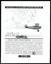 1930 Pegasus flying horse art Great Lakes Aircraft plane vintage print ad