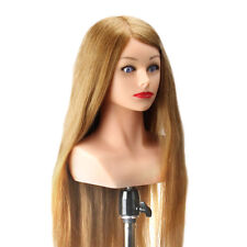 """24"""" Training Head With Shoulder High Grade 50% Real Hair Hairdressing Head Dummy"""