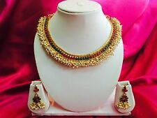 Bollywood Indian Bridal Necklace Earrings Jewellery White Pearls Gold Set #A19
