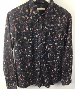 Ladies Barbour Cord Shirt Floral & Bird Themed Size 12 Good Condition