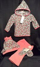 NWT Infant Girls Gymboree Fleece Leopard Set 6-12m Hoodie Pants Hat Mittens 4pc