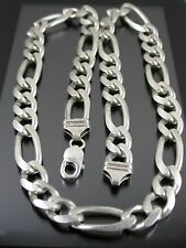 HEAVY VINTAGE STERLING SILVER FIGARO LINK NECKLACE CHAIN 22 inch C.1980