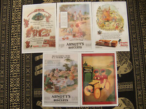 arnotts postcard set of five Mint condition Famous biscuits Unsent