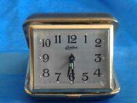 Vintage Travel Alarm Clock Linden Clam Shell Case Glow JAPAN PARTS REPAIR