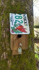 Unique Kentucky Cardinal License Plate Birdhouse Handcrafted Bird House Nest Out