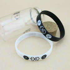 One Pair EXO-K FROM PLANET KPOP Supporter Wristband Bracelet Black+White LA