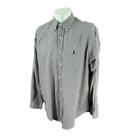 Ralph Lauren Polo Men's Blake Long Sleeve 100% Cotton Brown Check Shirt Medium