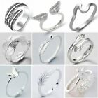 925 Silver Crystal Heart Feather Knuckle Ring Open Zircon Ring Women Adjustable