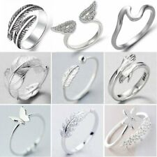 Adjustable 925 Silver Love Heart Feather Knuckle Ring Open Zircon Ring Women Hot