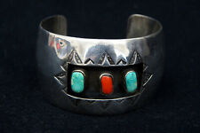 Native American Indian Sterling Silver Turquoise & Coral Cuff Bracelet  B2891 ES
