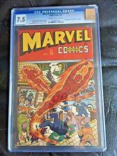 MARVEL MYSTERY COMICS #76 CGC VF- 7.5; CM-OW; Schomburg Human Torch cover!