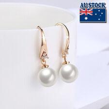 Elegant 18K Gold Filled Simple style CZ Pearl Dangly Earrings