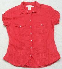 H&M Dress Shirt Size 10 Ten Top Woman's Polka Dot Short Sleeve Womens Red White
