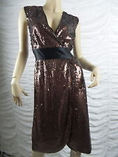 BCBG MAX AZRIA brown sequined cocktail formal dress size L 16-18 EUC