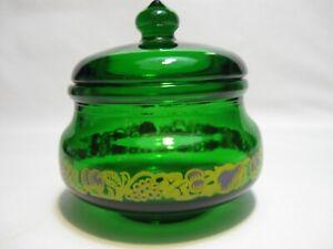 Vtg Fuller Brush Green Glass Covered Jar-Candle-Trinket-Embossed Design